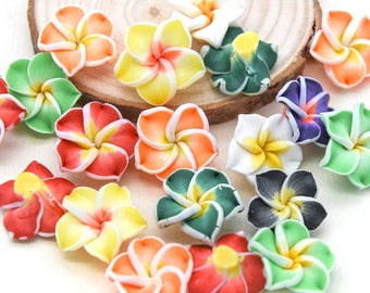 Polymer Clay Flower Beads,  20 pcs, 15mm,  Fimo Beads, Tropical Flowers  -B2297