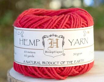 Hemp Yarn, Red Yarn, Hemp Cotton  Yarn, Knitting Yarn, Red Wool