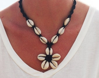 Cowrie Shell  Necklace,  flower hemp  choker, custom hemp Jewelry, gift for women,  choose the color