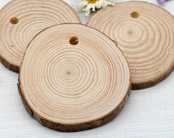 Wood pendant etsy natural wood pendant 2 12 inch 5pcs wood pendants round pendants craft supply b1006 aloadofball Image collections