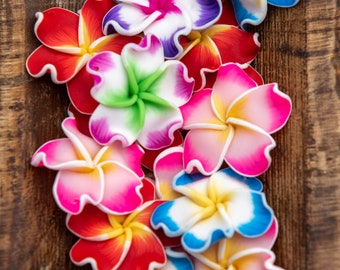 1mm Hole Black Pink Red White Blue Drilled Flowers 15mm Plumeria Flower Beads 15mm Flower Beads Hawaiian Beads Fimo Clay Plumeria Beads