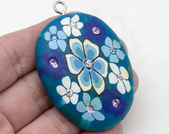 Blue Flower Pendant, 1pc, 2x1.5 Inch,   Floral  Pendant,  Large Clay  Pendant -P144