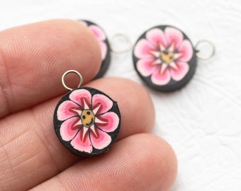 3  Polymer Clay Flower  Charms, Pink Floral  Beads,   Fimo Pendants,  Jewelry Charms-B2173