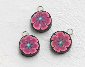 3  Hippie Flower  Charms,  Pink  Jewelry  Charms,  Round Fimo Pendants,  Jewelry   Supply -B2173