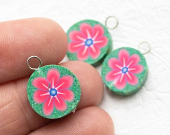3  Hippie Flower  Charms,    Anklet  Charms,  Round Fimo Pendants,  Jewelry   Supply -B2173