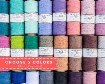 Plain Colored Hemp Cord Spools, 1mm eco friendly  twine,   hemp  jewelry supply,  choose  5   colors