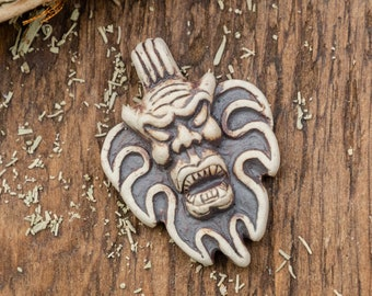 1 Devil Pendant,    High Fired Clay, Round Natural Color,  mens Necklace Pendants, Jewelry Supply