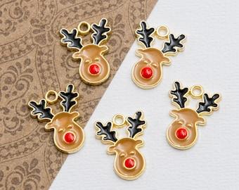 Reindeer Charms,   enamel Christmas Pendants, 5 pieces  -C1191