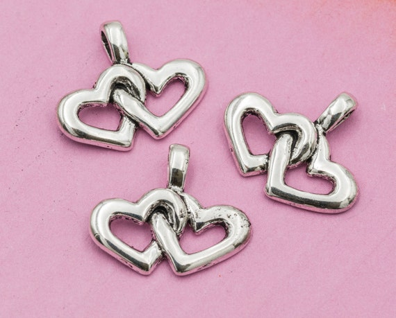 2 Heart with rhinestone charms antique silver tone H73