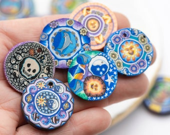 6 Assorted Fimo Pendants,  Polymer Clay Disc,  25mm Diameter, Necklace Pendants,    Jewelry Making Supply -B3093