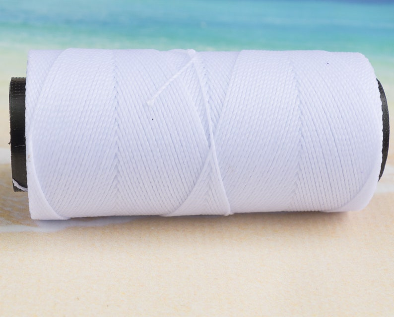 Waxed Polyester Cord 1mm for Jewelry and Crafts 2ply White 150 Yards