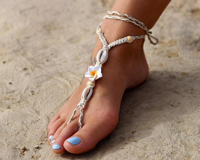 TODDLERS Kids GIRLS Beach Bridal Barefoot Sandals WHITE Frangipani flower