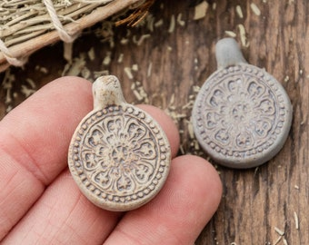 2 Clay Flower  Pendants,  High Fired Clay, Round Natural Color, Hemp Pendants, Jewelry Supply
