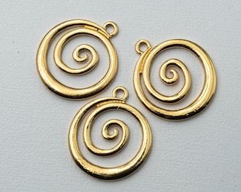 Gold Tone Spiral Pendants,  Large necklace Pendants,   gold charms, 3 pieces -C1206