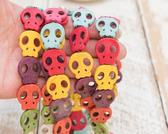 Flat Howlite Skull Beads,  20mm,  halloween charms, mixed color,  20 piece strand -B3196