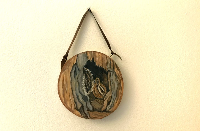Small Chipmunk Painting on Wood