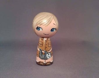Girl with Sloths Zookeeper Adventure Kokeshi Peg Wooden Doll