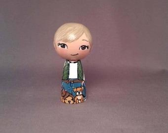 Dog Walker Girl Kokeshi Peg Wooden Doll