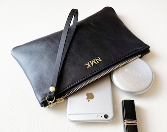 Monogrammed Leather Clutch with Wrist Strap, Personalized Initials Wristlet, Monogrammed Gift for Her, Wedding Party Gift for Bridesmaids