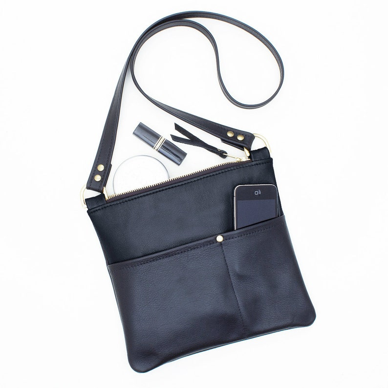 3522c1afd375 Black Leather Crossbody Bag Small Leather Travel Purse