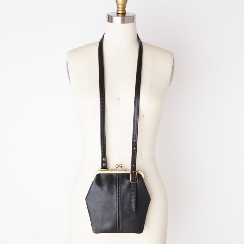 1930s Handbags and Purses Fashion Small Leather Kiss Lock Cell Phone Crossbody Bag with Adjustable Strap and Credit Card Pocket Retro Style Festival Bag Small Travel Bag $135.00 AT vintagedancer.com