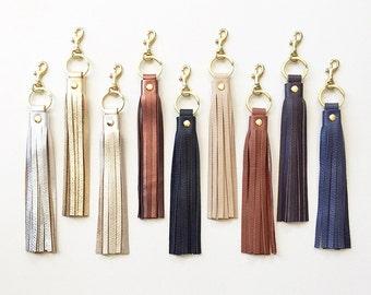 Leather Tassel KEYRING Keychain, Tassel Purse Charm, Handbag Accessory