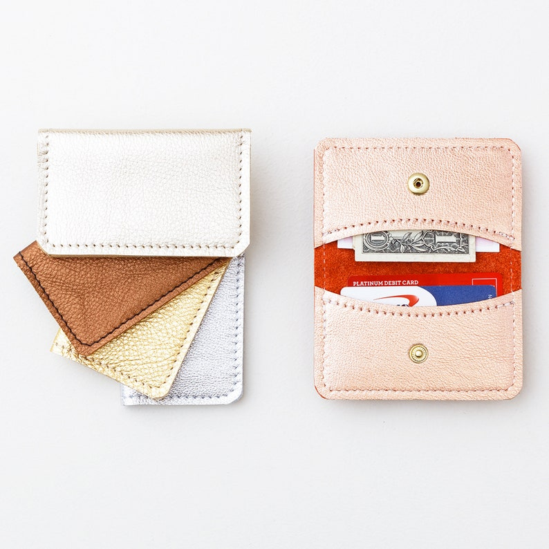 14c1d73d22ab Leather Credit Card SNAP Wallet | Minimal Style Metallic Leather Business  Card Case | Small Cash Wallet