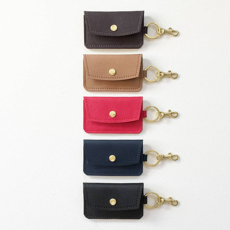 Leather Keychain Credit Card Wallet Keychain Business Card