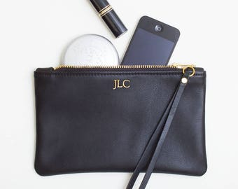 Monogrammed Leather Clutch, Personalized Zipper Wristlet, Black Leather Clutch, Foil Monogram Embossed Leather Wristlet, Cell Phone Wristlet
