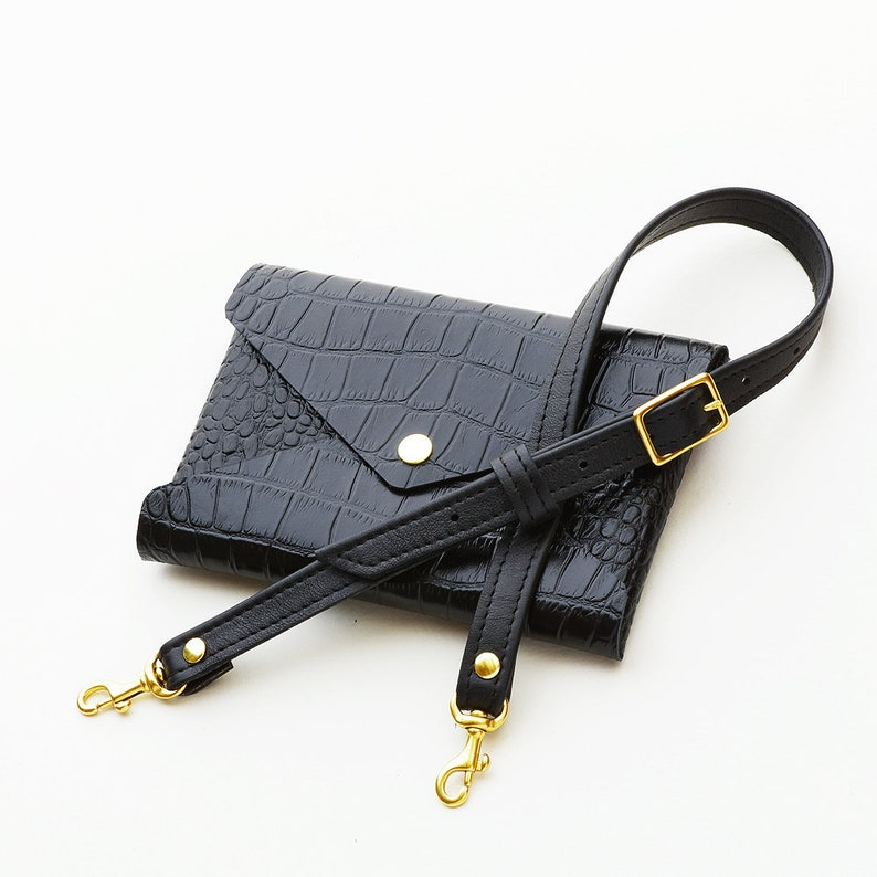 8a544a13e704 Crocodile Embossed Leather Belt Bag Convertible Envelope | Etsy