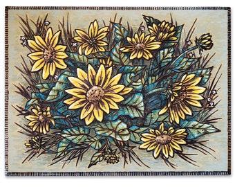 Arrowleaf Balsamroot, Yellow Wildflower Wood Burning Art, Acrylic Painting - Original