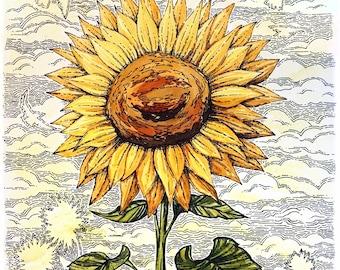 "Sunflower Watercolor - Art Print 11x14"""
