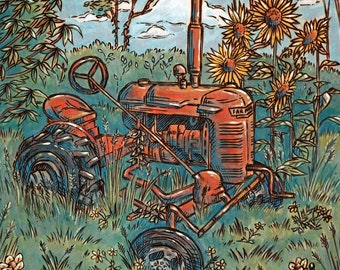 """Old Tractor Wood Burning Art, Acrylic Painting - Print 11x14"""""""