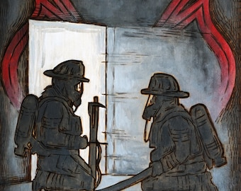 "Firefighters Training - Art Print 11x14"""