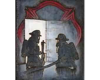 Firefighters Training Wood Burning Art, Acrylic Painting - Original