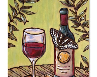 Wine and Butterfly Wood Burning & Painting - Print