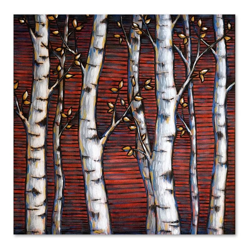 Aspens on Red Wood Burning Art Acrylic Painting  Original image 0