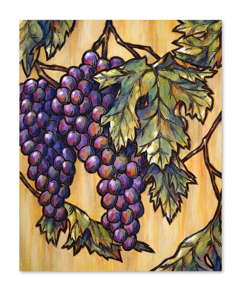 Vineyard Grapes Wood Burning Art Acrylic Painting Original image 0