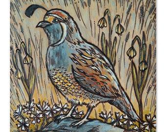 Quail with Wildflowers Wood Burning Art, Acrylic Painting - Original