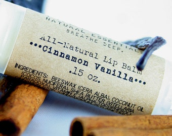 Natural Lip Balm / Cinnamon Vanilla Shea Butter Lip Balm / Organic Lip Balm / Natural Skin Care / Handmade Lip Balm / Essential Oils