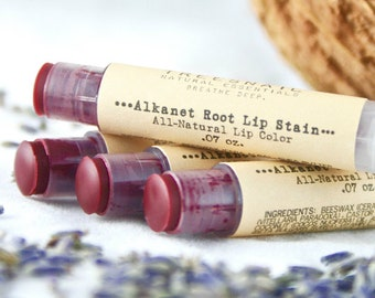 Alkanet Root Tinted Lip Balm / Organic Lip Gloss / Red Lip Tint / Natural Makeup / Treesnail / Organic Lip Balm / Natural Lip Gloss