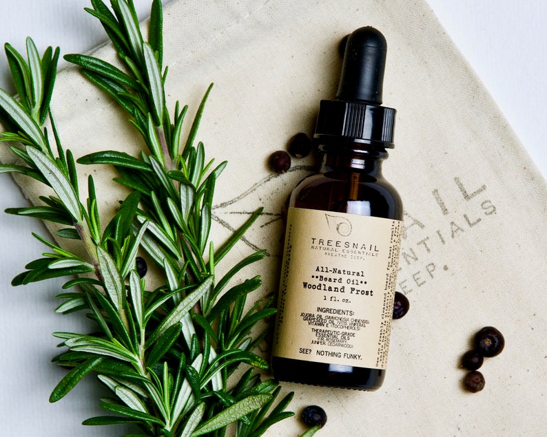 Woodland Frost Natural Beard Oil with Essential Oils • Grapeseed Beard Care  and Skin Care • Small Batch Beard Conditioner Gift for Him