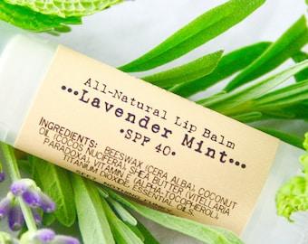 SPF Lip Balm / Lavender Mint Shea Butter / Organic Lip Balm / Natural Lip Balm / Handmade Lip Balm / Essential Oils / Natural Skin Care