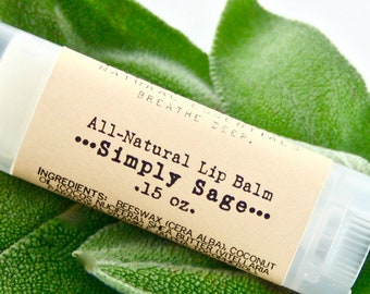 Sage Lip Balm with Essential Oil / Organic Shea Butter / Natural Skin Care / Handmade Lip Balm / Natural Lip Balm / Natural Gifts