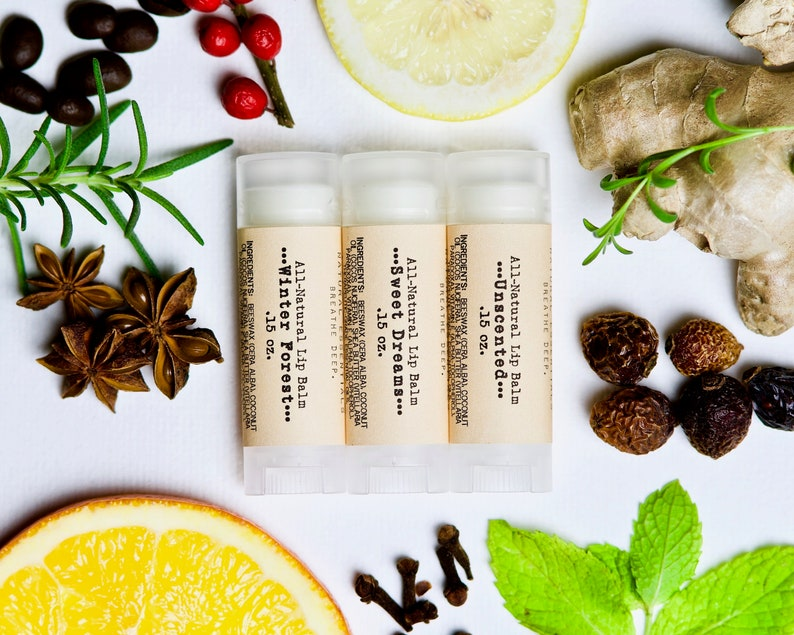 Set of 3 Organic Lip Balms with Essential Oils  Mix and Match image 0