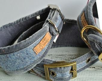 Slate grey blue Greyhound collar, Sighthound Collar, Harris Tweed collar for whippet, Gazehound collar, Galgos, Italian Greyhound