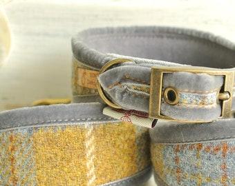Grey and Mustard Greyhound collar, Sighthound Collar, Harris Tweed collar for whippet, gazehound collar