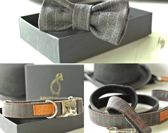 Pinstripe Dog Accessories Collection.   Collar, lead and Bow Tie set, Discounted full Collection
