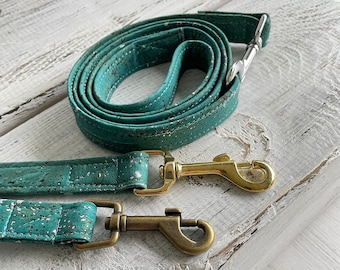 Blue and Silver Cork leather Dog lead, Cork Dog leash