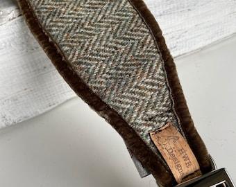 Greyhound collar, Sighthound Collar, Brown Herringbone Harris Tweed collar for whippet, gazehound collar